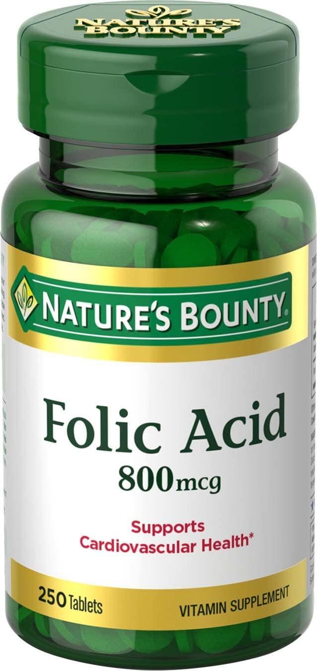 Nature's Bounty Folic Acid Supplement, Supports Cardiovascular Health, 800mcg, 250 Tablets