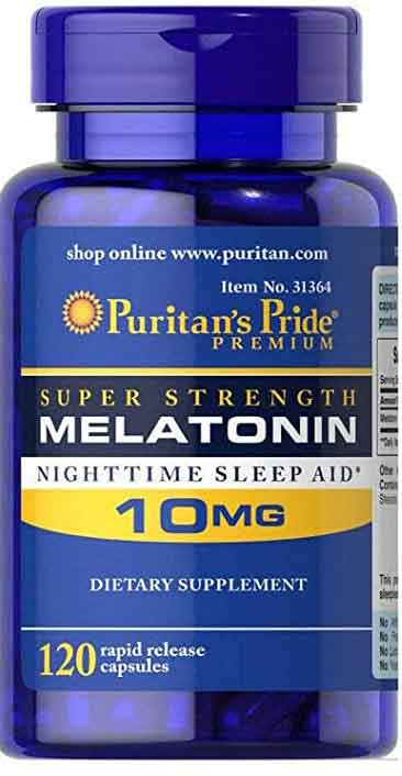 Puritan's Pride Super Strength Rapid Release Capsules, Melatonin, 10 mg 120 Count